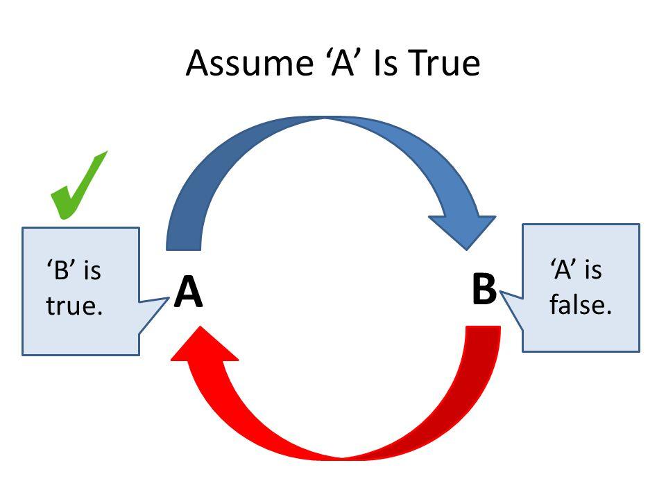 Assume 'A' Is True A B 'B' is true. 'A' is false.