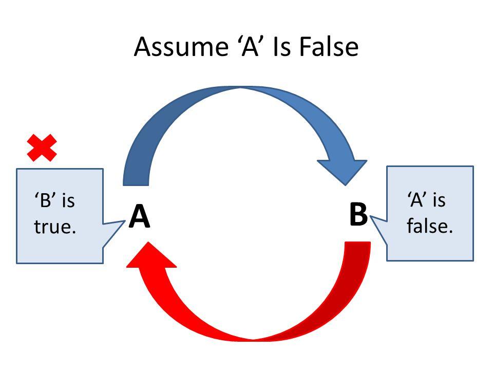 Assume 'A' Is False A B 'B' is true. 'A' is false.
