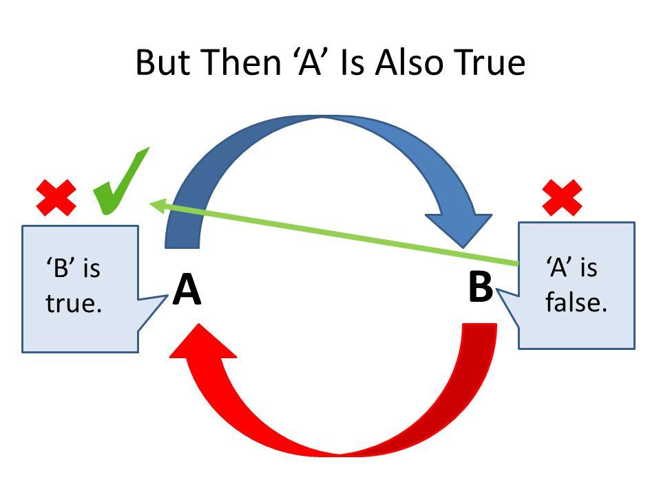 But Then 'A' Is Also True A B 'B' is true. 'A' is false.