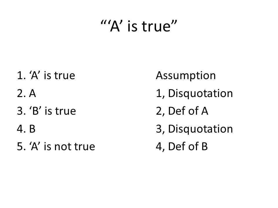 'A' is true 1. 'A' is trueAssumption 2. A1, Disquotation 3.
