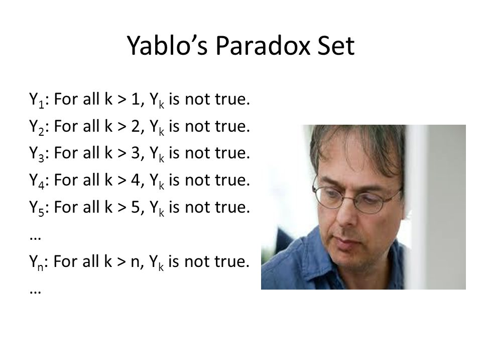 Yablo's Paradox Set Y 1 : For all k > 1, Y k is not true.
