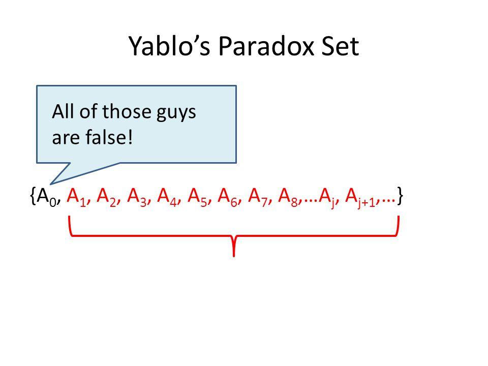 Yablo's Paradox Set {A 0, A 1, A 2, A 3, A 4, A 5, A 6, A 7, A 8,…A j, A j+1,…} All of those guys are false!