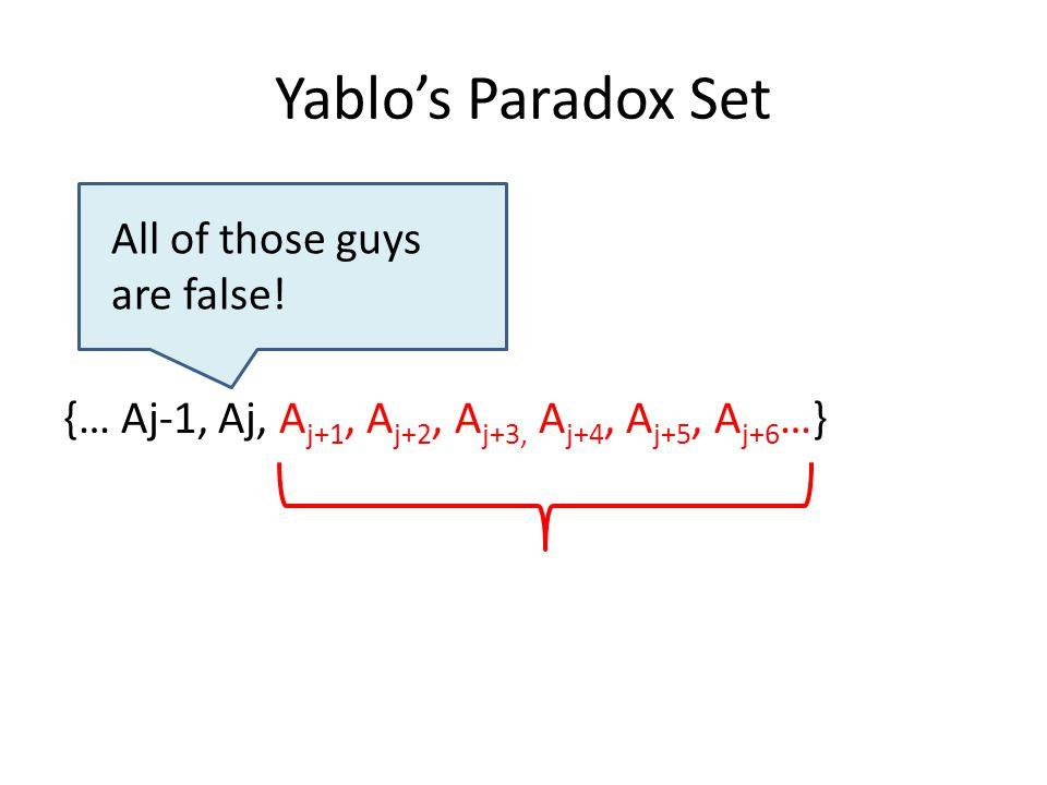 Yablo's Paradox Set {… Aj-1, Aj, A j+1, A j+2, A j+3, A j+4, A j+5, A j+6 …} All of those guys are false!