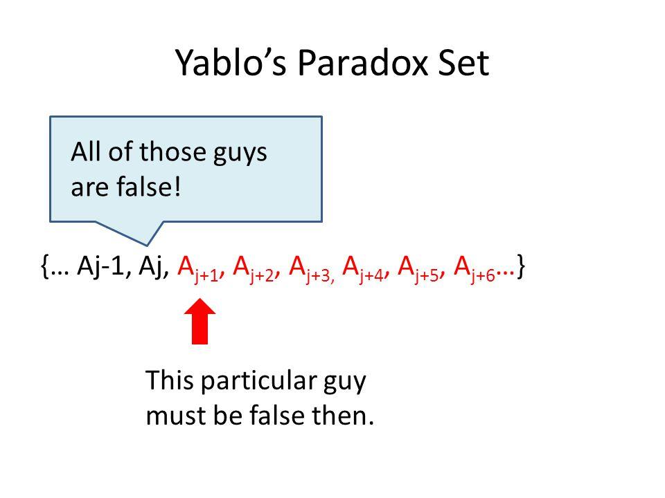 Yablo's Paradox Set {… Aj-1, Aj, A j+1, A j+2, A j+3, A j+4, A j+5, A j+6 …} All of those guys are false.