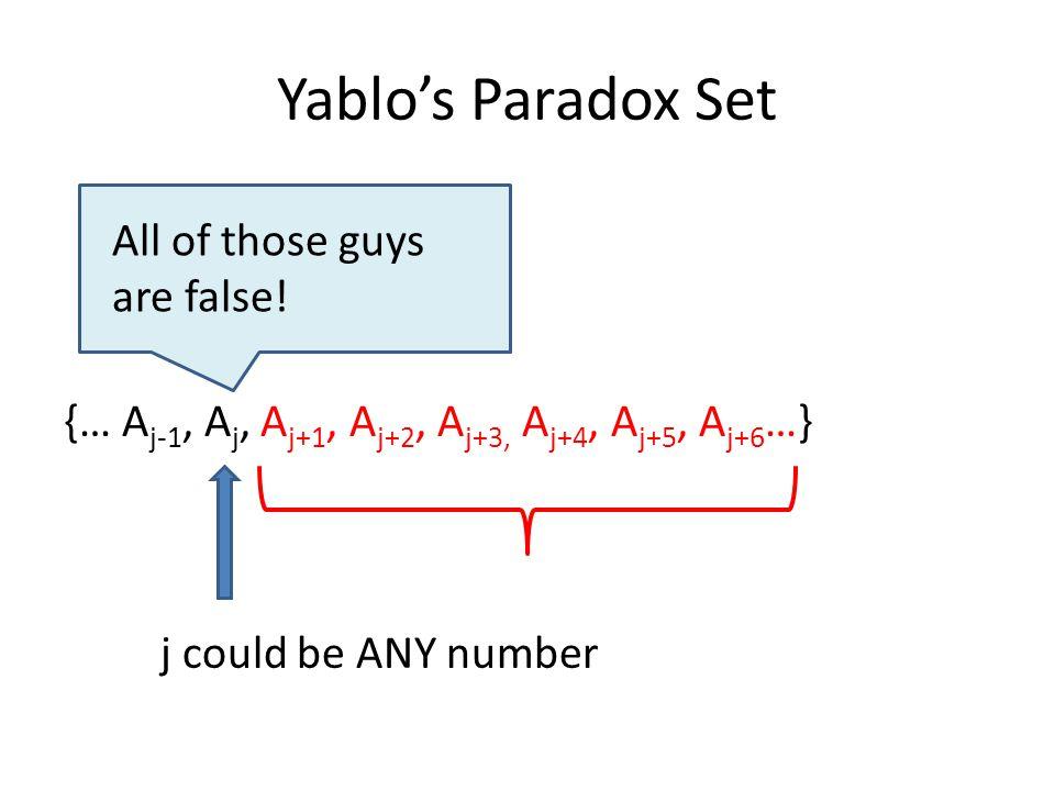Yablo's Paradox Set {… A j-1, A j, A j+1, A j+2, A j+3, A j+4, A j+5, A j+6 …} All of those guys are false.