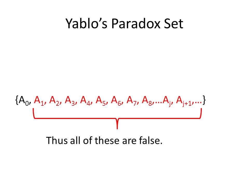 Yablo's Paradox Set {A 0, A 1, A 2, A 3, A 4, A 5, A 6, A 7, A 8,…A j, A j+1,…} Thus all of these are false.