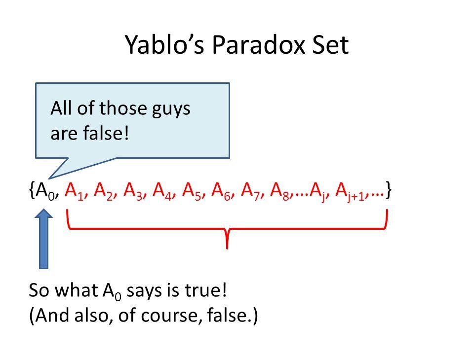 Yablo's Paradox Set {A 0, A 1, A 2, A 3, A 4, A 5, A 6, A 7, A 8,…A j, A j+1,…} All of those guys are false.