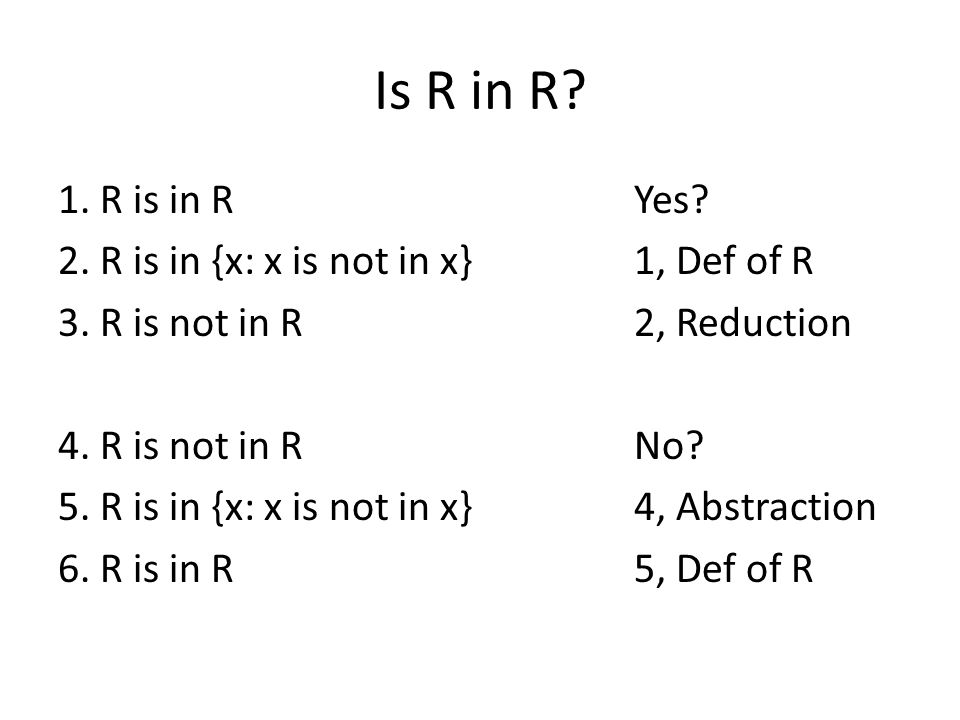 Is R in R. 1. R is in RYes. 2. R is in {x: x is not in x}1, Def of R 3.