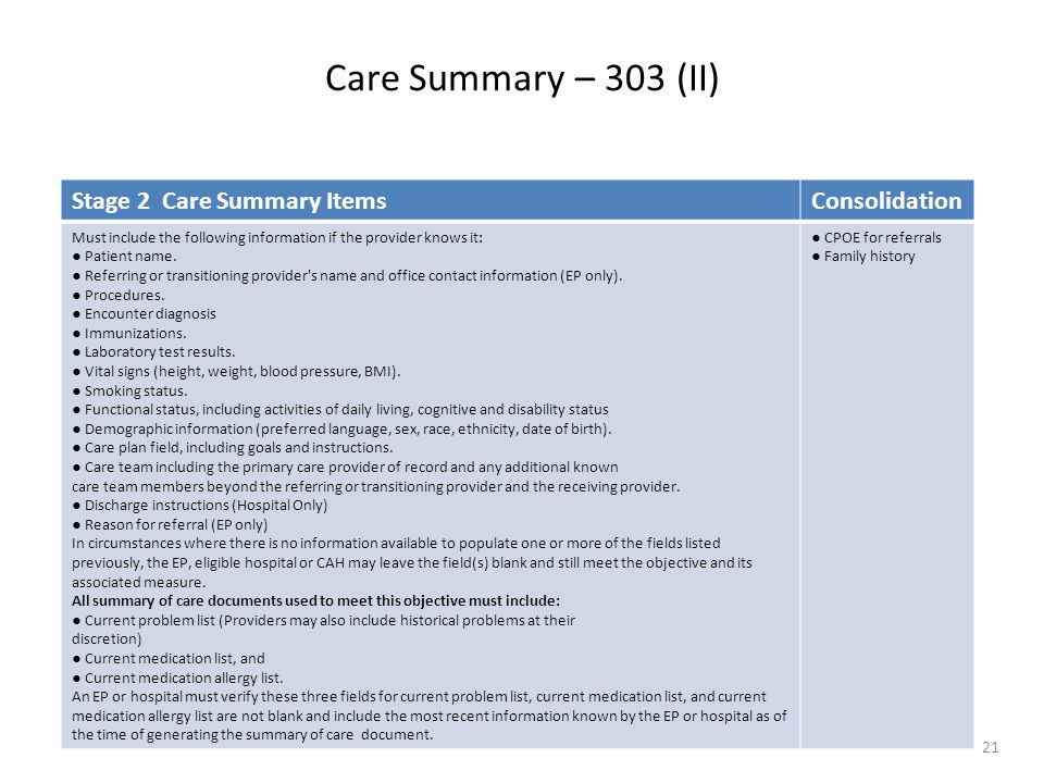 Care Summary – 303 (II) 21 Stage 2 Care Summary ItemsConsolidation Must include the following information if the provider knows it: ● Patient name. ●