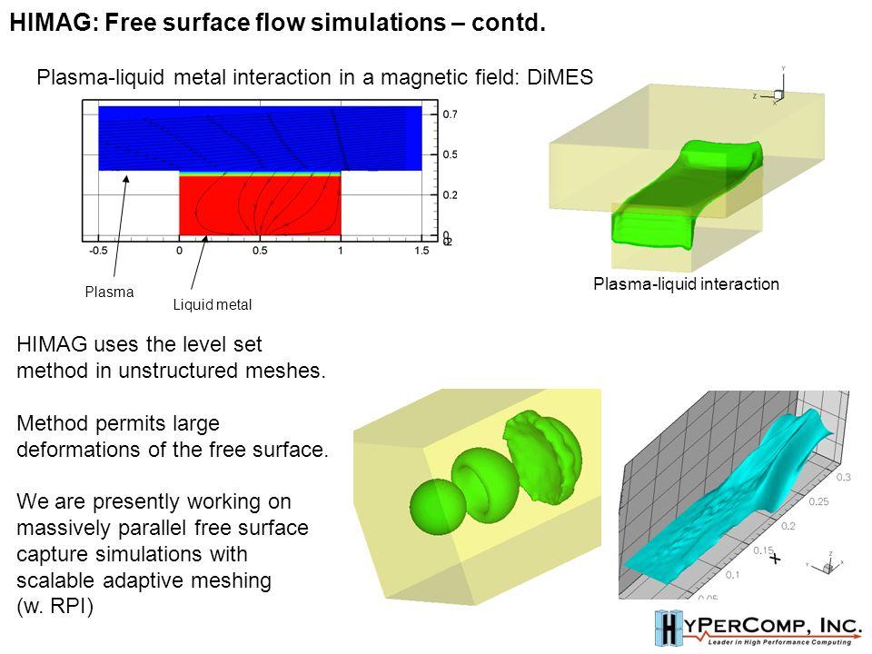Plasma Liquid metal Plasma-liquid interaction Plasma-liquid metal interaction in a magnetic field: DiMES HIMAG uses the level set method in unstructured meshes.