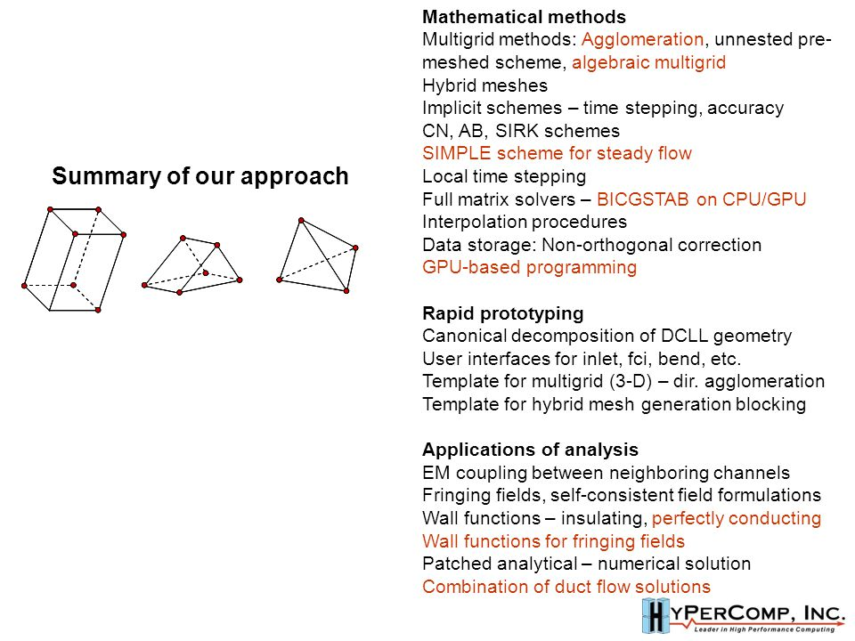 Mathematical methods Multigrid methods: Agglomeration, unnested pre- meshed scheme, algebraic multigrid Hybrid meshes Implicit schemes – time stepping, accuracy CN, AB, SIRK schemes SIMPLE scheme for steady flow Local time stepping Full matrix solvers – BICGSTAB on CPU/GPU Interpolation procedures Data storage: Non-orthogonal correction GPU-based programming Rapid prototyping Canonical decomposition of DCLL geometry User interfaces for inlet, fci, bend, etc.