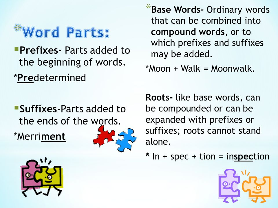 * Base Words- Ordinary words that can be combined into compound words, or to which prefixes and suffixes may be added.