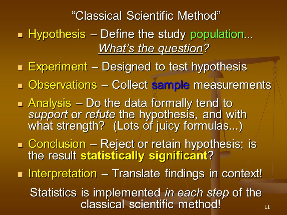 Classical Scientific Method Hypothesis – Define the study population...