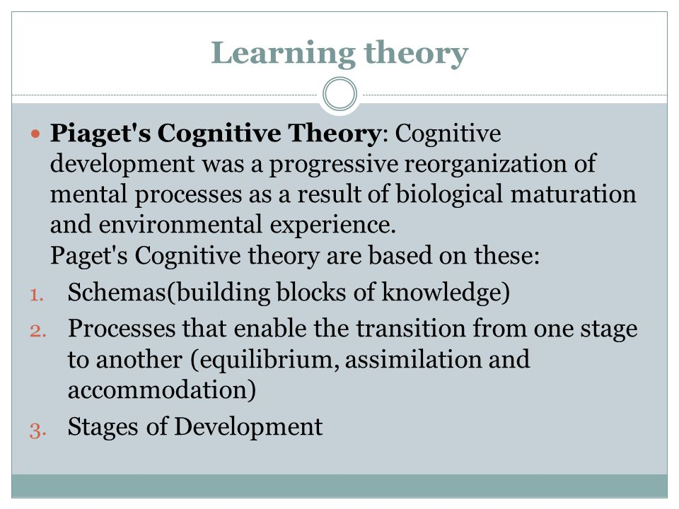 Learning theory Piaget s Cognitive Theory: Cognitive development was a progressive reorganization of mental processes as a result of biological maturation and environmental experience.