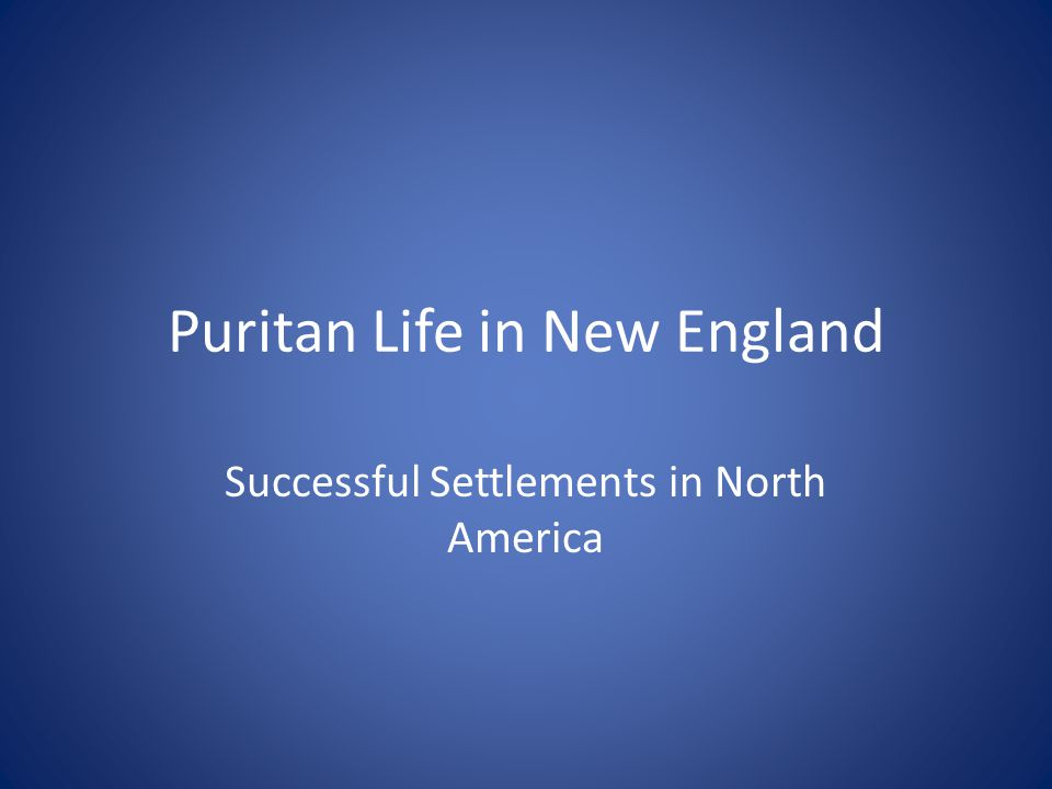 Puritan Life in New England Successful Settlements in North America