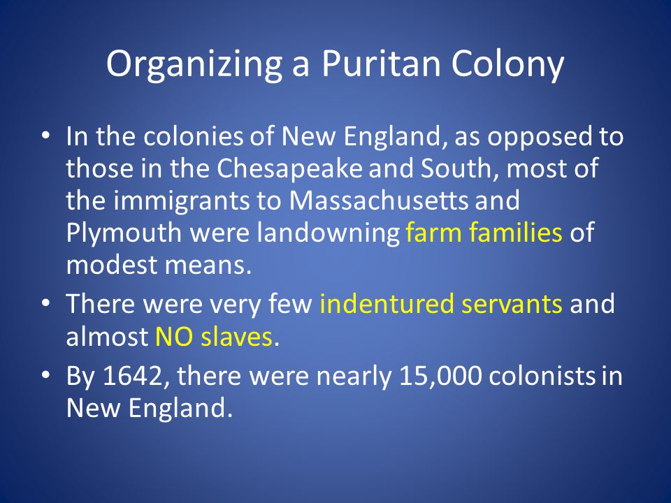 Organizing a Puritan Colony Church Organization: – Congregations of Puritans were relatively independent and self- governing.
