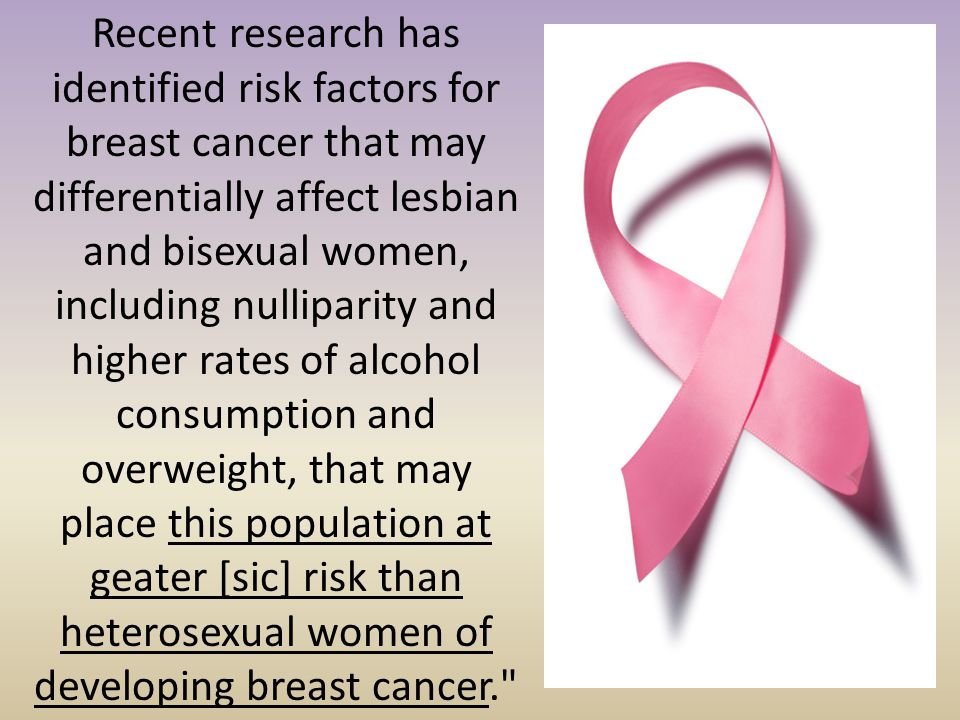 Recent research has identified risk factors for breast cancer that may differentially affect lesbian and bisexual women, including nulliparity and hig