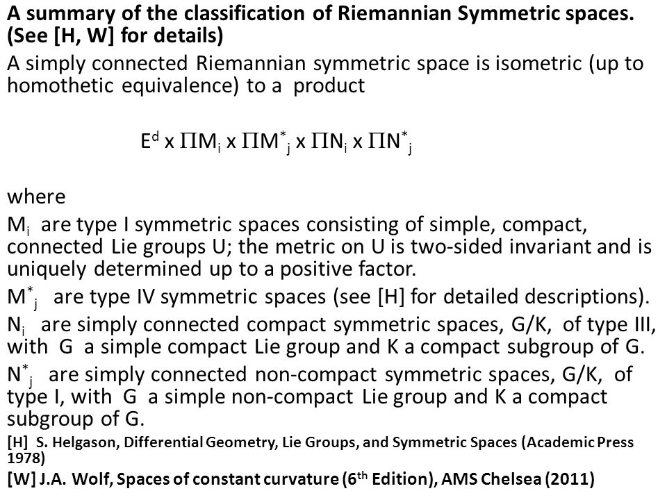 A summary of the classification of Riemannian Symmetric spaces.