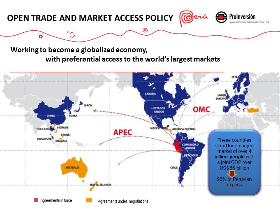 Agreements in force OPEN TRADE AND MARKET ACCESS POLICY Working to become a globalized economy, with preferential access to the world's largest markets Agreements under negotiations These countries stand for enlarged market of over 4 billion people with a joint GDP over US$ 56 billion 96% of Peruvian exports