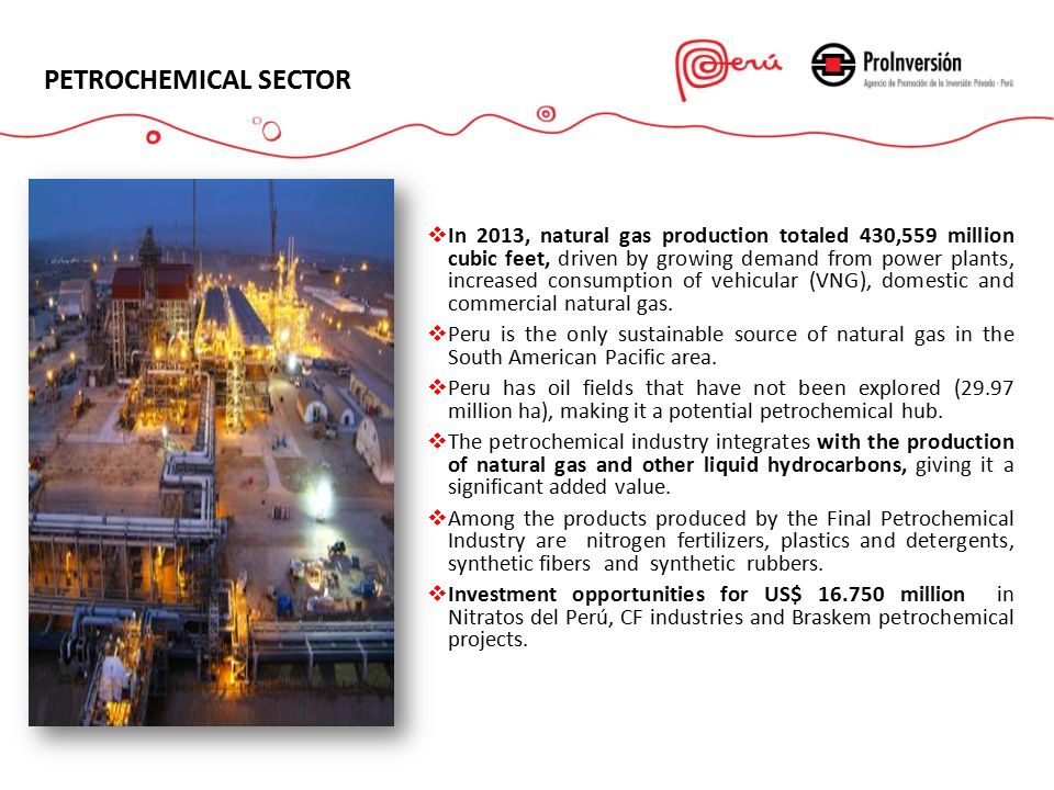 PETROCHEMICAL SECTOR  In 2013, natural gas production totaled 430,559 million cubic feet, driven by growing demand from power plants, increased consumption of vehicular (VNG), domestic and commercial natural gas.