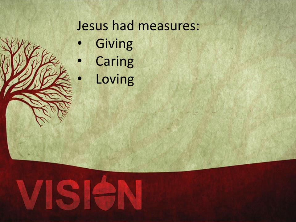 Jesus had measures: Giving Caring Loving