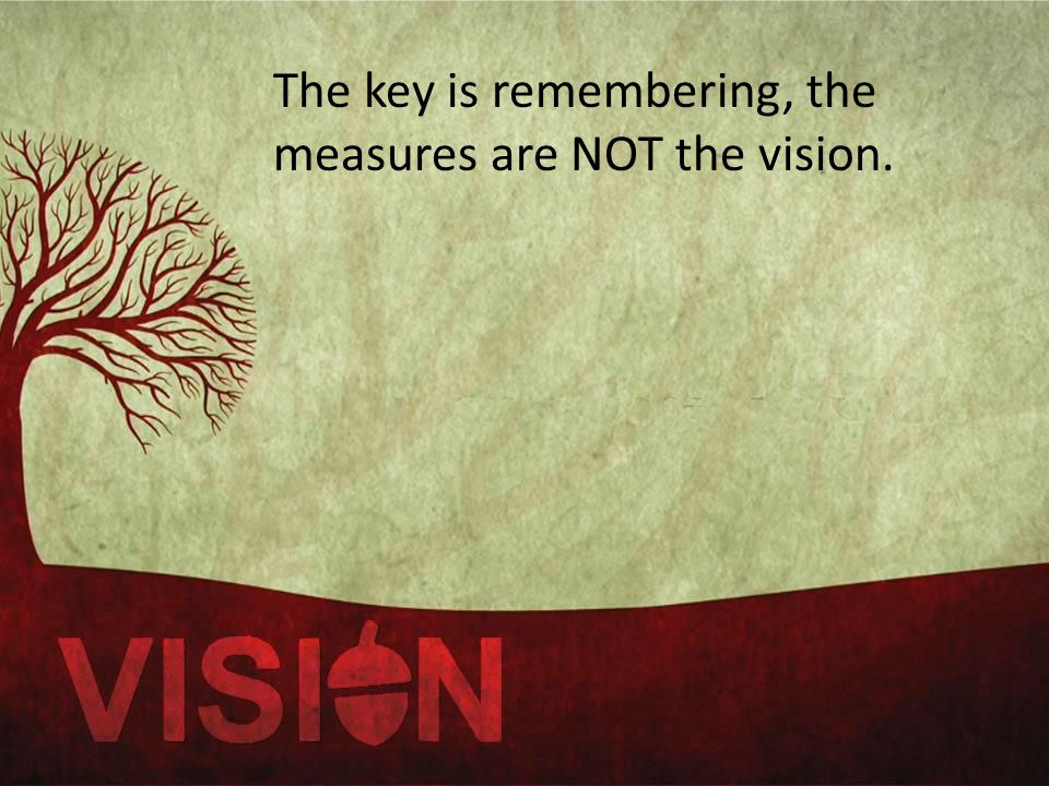 The key is remembering, the measures are NOT the vision.