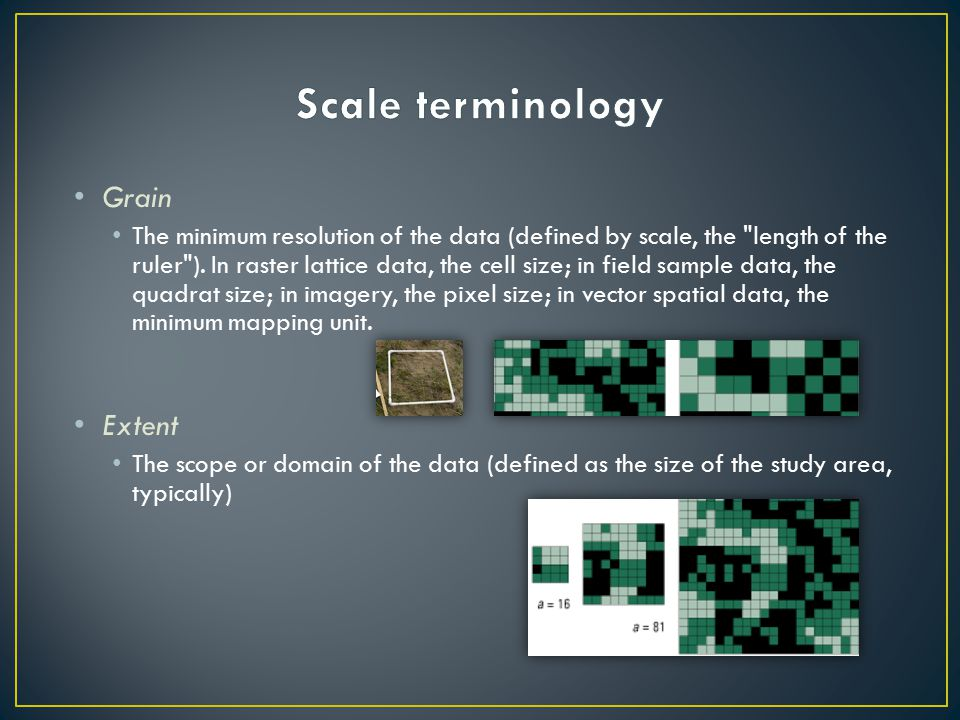 Grain The minimum resolution of the data (defined by scale, the