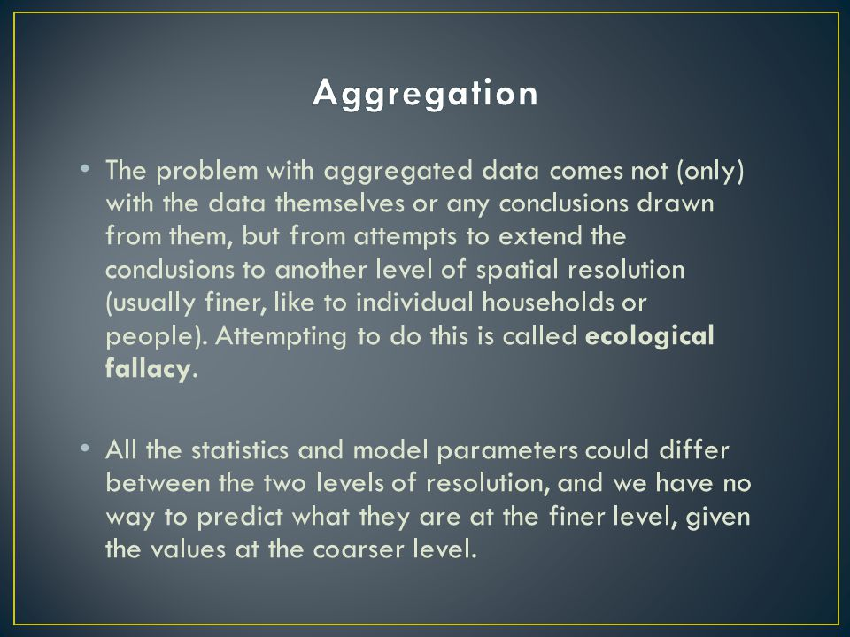 The problem with aggregated data comes not (only) with the data themselves or any conclusions drawn from them, but from attempts to extend the conclus