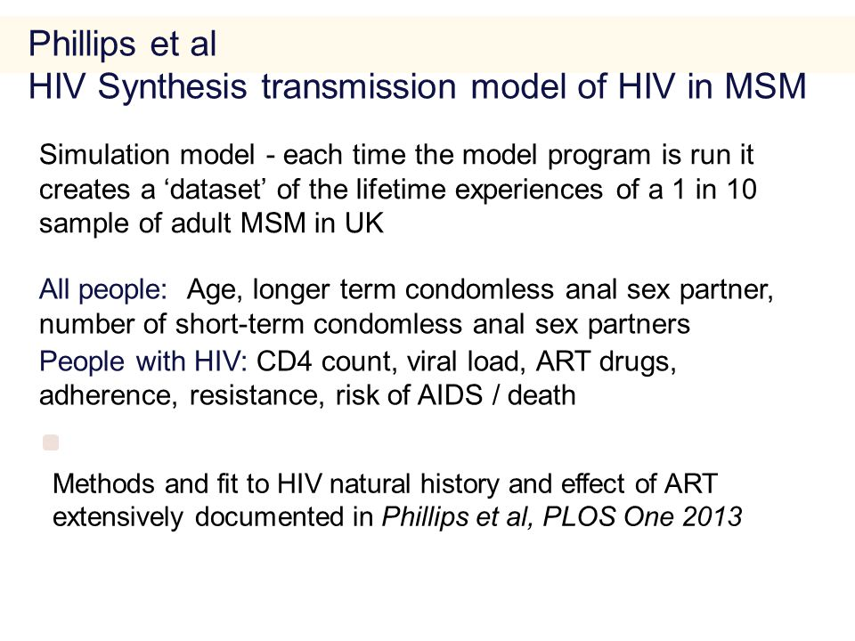 All people: Age, longer term condomless anal sex partner, number of short-term condomless anal sex partners People with HIV: CD4 count, viral load, ART drugs, adherence, resistance, risk of AIDS / death.