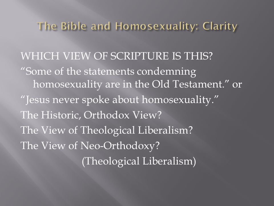 """WHICH VIEW OF SCRIPTURE IS THIS? """"Some of the statements condemning homosexuality are in the Old Testament."""" or """"Jesus never spoke about homosexuality"""
