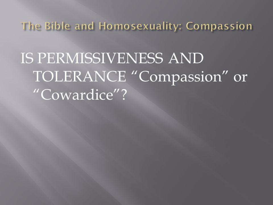 "IS PERMISSIVENESS AND TOLERANCE ""Compassion"" or ""Cowardice""?"