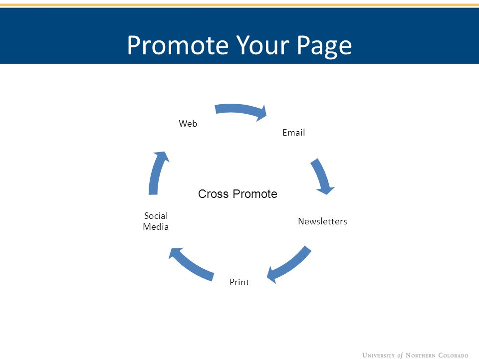 Promote Your Page Email Newsletters Print Social Media Web Cross Promote