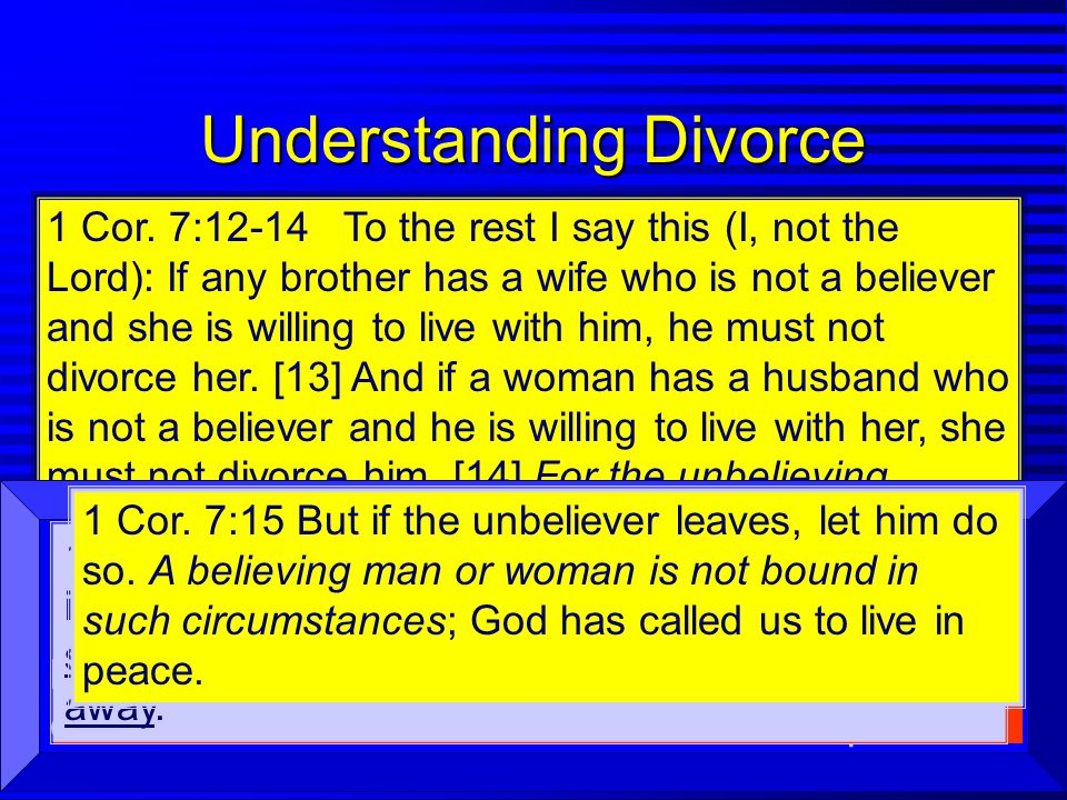 Understanding Divorce n Separation is a Possibility (7:10-11) n Divorce Should Be Avoided (Mt.19:6) n Non-Christian Situations 7:12-14 1 Cor. 7:12-14
