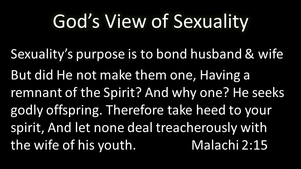 Sexuality's purpose is to bond husband & wife But did He not make them one, Having a remnant of the Spirit.