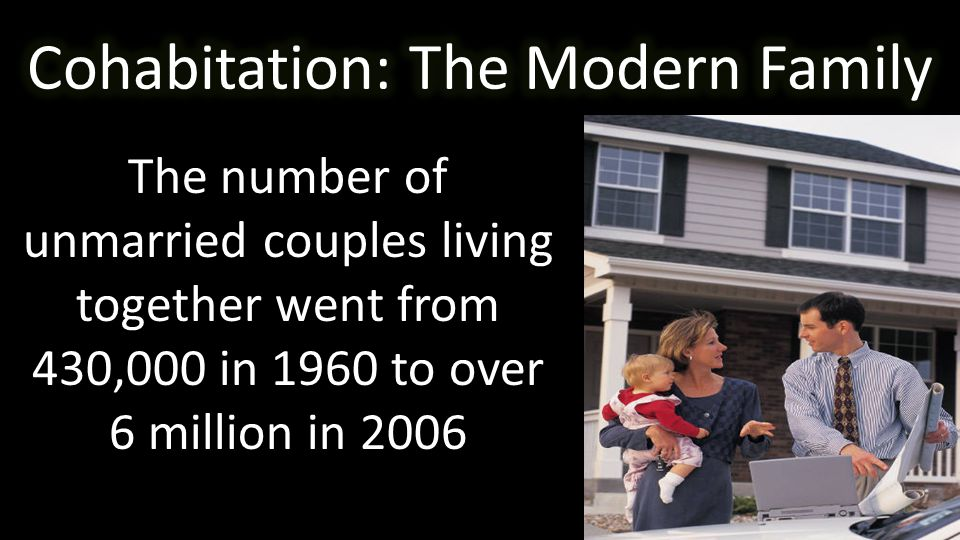 The number of unmarried couples living together went from 430,000 in 1960 to over 6 million in 2006