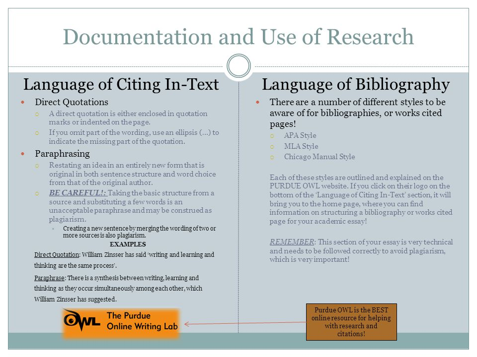 Documentation and Use of Research Language of Citing In-Text Direct Quotations  A direct quotation is either enclosed in quotation marks or indented