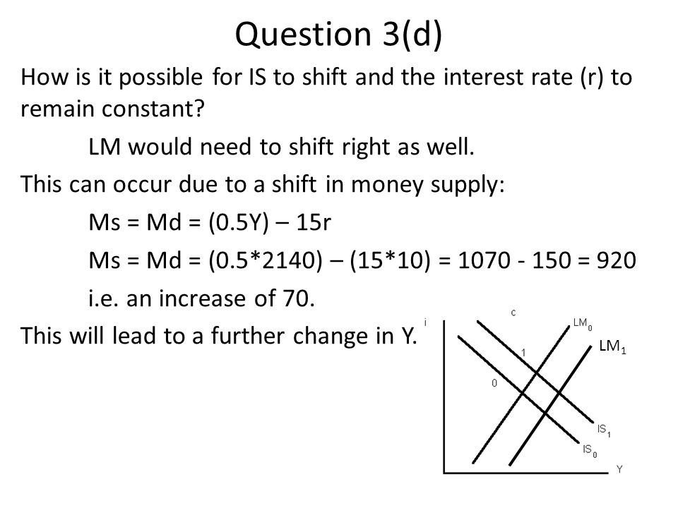 Question 3(d) How is it possible for IS to shift and the interest rate (r) to remain constant? LM would need to shift right as well. This can occur du