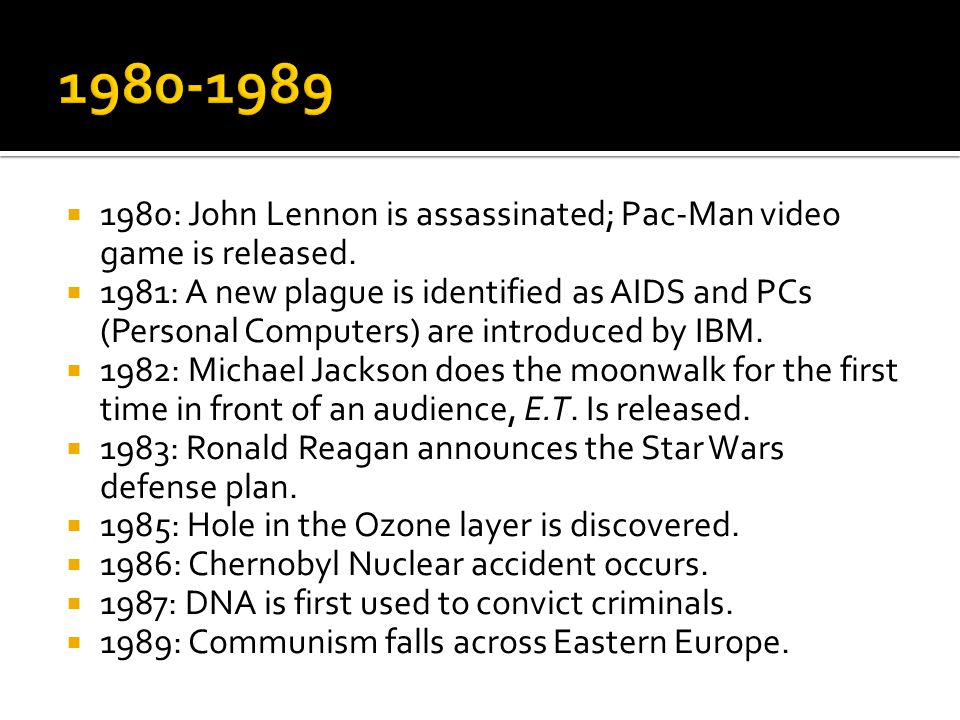  1980: John Lennon is assassinated; Pac-Man video game is released.