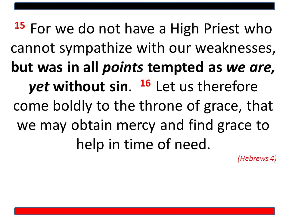 15 For we do not have a High Priest who cannot sympathize with our weaknesses, but was in all points tempted as we are, yet without sin.