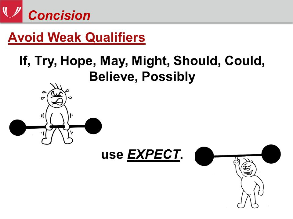 Avoid Weak Qualifiers If, Try, Hope, May, Might, Should, Could, Believe, Possibly use EXPECT.