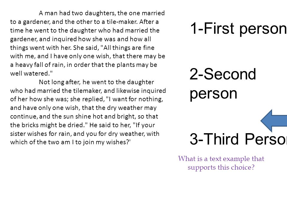 1-First person 2-Second person 3-Third Person What is a text example that supports this choice.