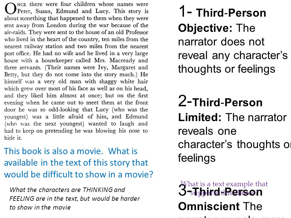 1- Third ‐ Person Objective: The narrator does not reveal any character's thoughts or feelings 2- Third ‐ Person Limited: The narrator reveals one character's thoughts or feelings 3- Third ‐ Person Omniscient The narrator reveals more than one characters' thoughts or feelings What is a text example that supports this choice.