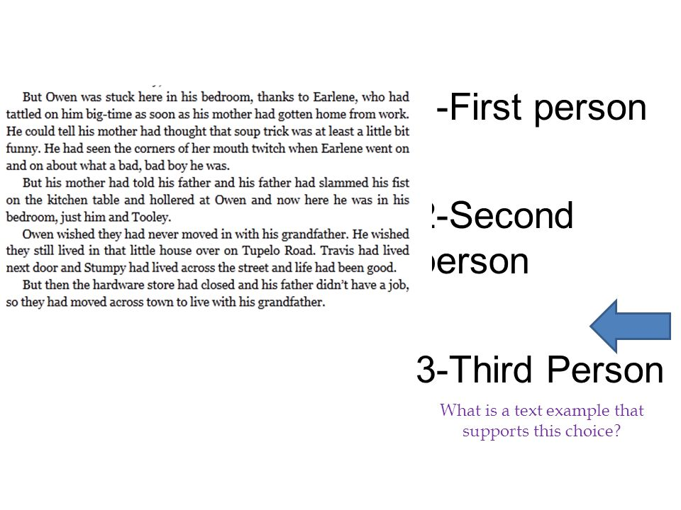 1-First person 2-Second person 3-Third Person What is a text example that supports this choice?