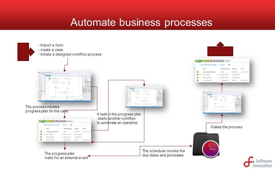 Automate business processes - Import a form - create a case - initiate a designed workflow process The process initiates progress plan for the case A