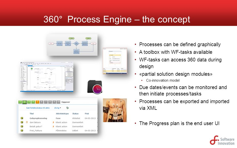 360° Process Engine – the concept Processes can be defined graphically A toolbox with WF-tasks available WF-tasks can access 360 data during design «p