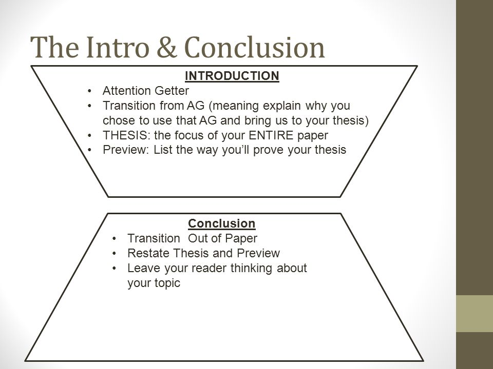 The Intro & Conclusion INTRODUCTION Attention Getter Transition from AG (meaning explain why you chose to use that AG and bring us to your thesis) THESIS: the focus of your ENTIRE paper Preview: List the way you'll prove your thesis Conclusion Transition Out of Paper Restate Thesis and Preview Leave your reader thinking about your topic