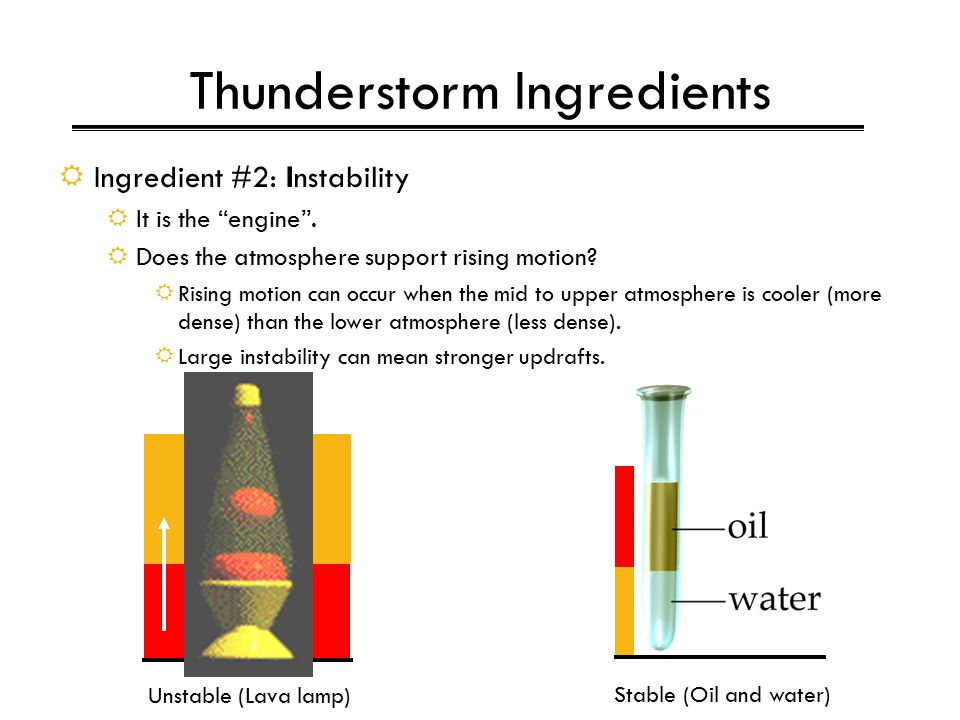 Thunderstorm Ingredients  Ingredient #2: Instability  It is the engine .