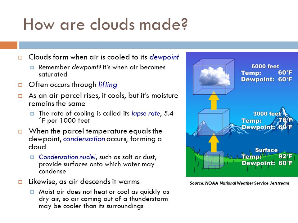 How are clouds made.  Clouds form when air is cooled to its dewpoint  Remember dewpoint.