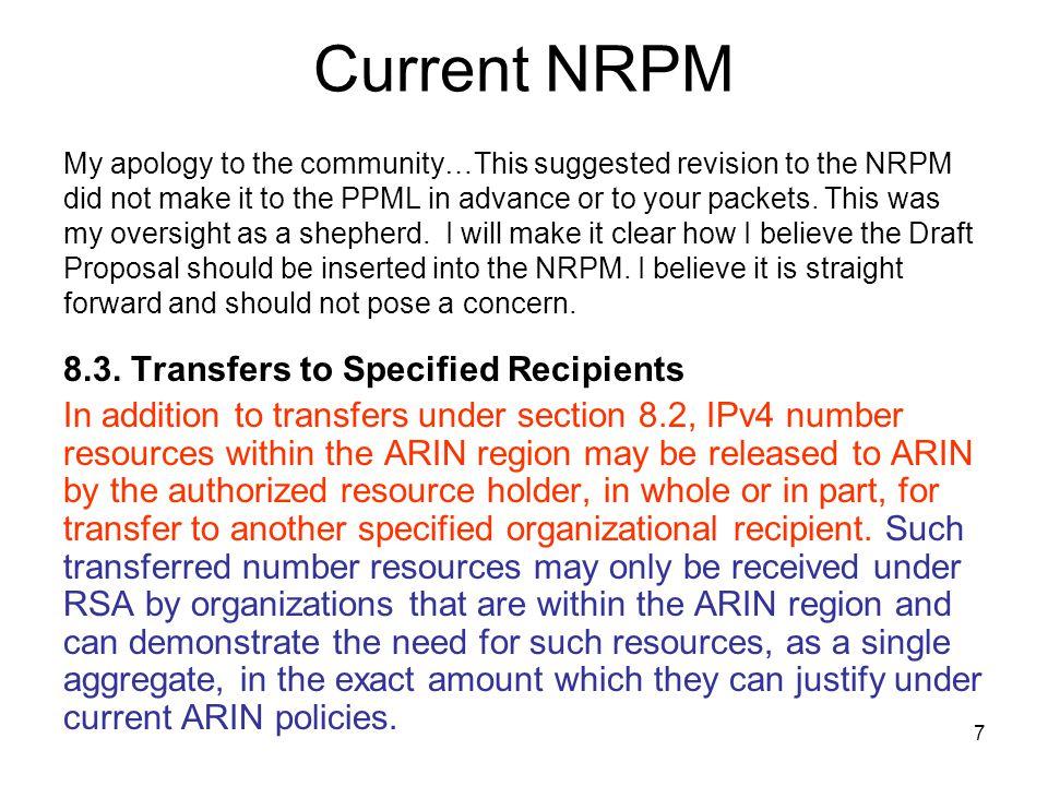 8 Proposed NRPM Modification 8.3.