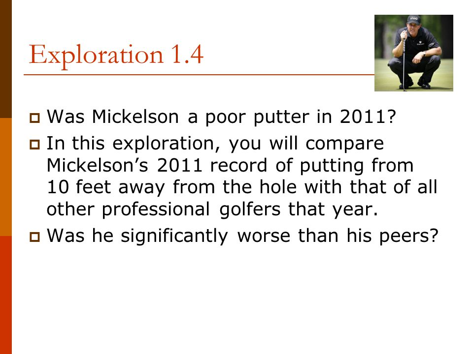 Exploration 1.4  Was Mickelson a poor putter in 2011?  In this exploration, you will compare Mickelson's 2011 record of putting from 10 feet away fr